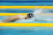 Katie Ledecky of the United States competes in the Women's Freestyle 800m Timed-Final on day one of the Pan Pacific Swimming Championships at Tokyo Tatsumi International Swimming Center on August 9, 2018 in Tokyo, Japan.