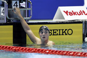 Katie Ledecky of the United States reacts winning the gold medal after competing in the Women's 1500m Freestyle Timed-Final on day four of the Pan Pacific Swimming Championships at Tokyo Tatsumi International Swimming Center on August 12, 2018 in Tokyo, Japan.