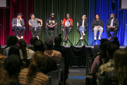 "Chachi Senior, Michael Gasparro, Tracy Martin, Sybrina Fulton, Julia Willoughby Nason, Jenner Furst and Jamil Smith on stage at ""Rest In Power: The Trayvon Martin Story"" Screening on July 26, 2018 in Venice, California."