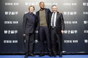 "(from left) Jerry Bruckheimer, Will Smith, and Ang Lee attend the Paramount Pictures ""Gemini Man"" Taipei Premiere at Miramar Da-Zhi Cinema on October 21, 2019 in Taipei, Taiwan."