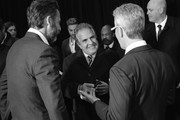 """Image has been converted to black and white).(L-R) Producer Andrew Form, Paramount Pictures Chairman and CEO Jim Gianopulos, and producer Brad Fuller attend the Paramount Pictures New York Premiere of """"A Quiet Place"""" at AMC Lincoln Square theater onApril 2, 2018 in New York, New York."""