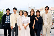 """(L-R) Song Kang-ho, Choi Woo-shik, Chang Hyae-Jin, Cho Yeo-jeong, Park So-Dam, Lee Jung-Eun and Lee Sun-gyun, attend thephotocall for """"Parasite"""" during the 72nd annual Cannes Film Festival on May 22, 2019 in Cannes, France."""