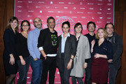 (L-R) Julie Gayet,Mona Achache, Antoine Rein, Abel Jafri,Marie Gillain, Melanie Carpentier, Nicolas Marcade, Coralie Russier and Francis Gavelle attend Paris Courts Devant : Opening Ceremony at Bibliotheque Nationale de France on November 16, 2017 in Paris, France.