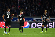 Neymar of Paris Saint-Germain looks dejected after Napoli score their second goal during the Group C match of the UEFA Champions League between Paris Saint-Germain and SSC Napoli at Parc des Princes on October 24, 2018 in Paris, France.