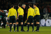 Head coach / Manager of PSG, Carlo Ancelotti shakes hands with the officials after the Round of 16 UEFA Champions League match between Paris St Germain and Valencia CF at Parc des Princes on March 6, 2013 in Paris, France.