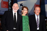 "Director Brian de Palma with actress Noomi Rapace and composer Pino Donaggio attend the ""Passion"" Premiere during the 69th Venice Film Festival at the Palazzo del Casino on September 7, 2012 in Venice, Italy."
