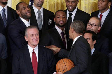 Pat Riley Barack Obama Meets with NBA Champions