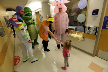 Patrice Bergeron Boston Bruins Bring Toy Story 4 To Life At Boston Children's Hospital for Annual Halloween Visit