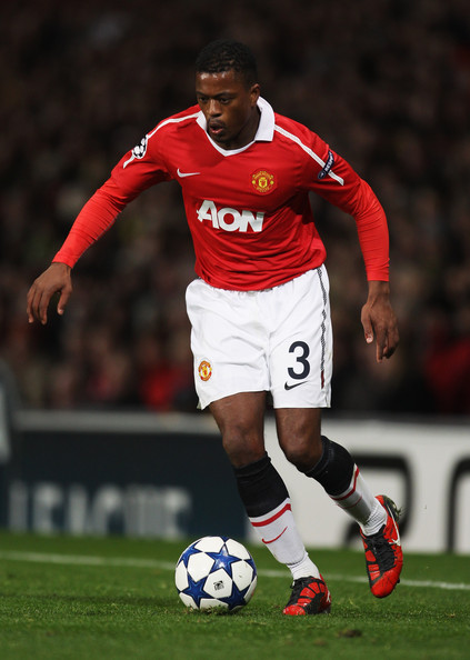 Patrice Evra Patrice Evra of Manchester United in action during the UEFA Champions League Group C match between Manchester United and Bursaspor Kulubu at Old Trafford on October 20, 2010 in Manchester, England.