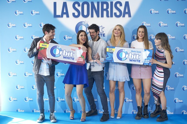 'Buscamos La Sonrisa Orbit White' Competition In Madrid [pocari sweat,drink,event,competition,advertising,award,tourism,paula gonu,patricia conde,anton lofer,l-r,aitana attend,buscamos la sonrisa orbit white,competition in madrid,buscamos la sonrisa orbit white competition at club allard restaurant on may 9,madrid,spain]