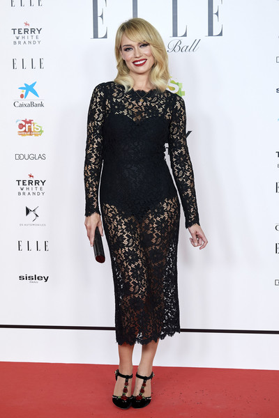 ELLE Charity Gala 2019 In Madrid [clothing,red carpet,dress,fashion model,carpet,fashion,cocktail dress,premiere,flooring,footwear,patricia conde,funds,cancer,elle charity gala,madrid,spain,intercontinental hotel]