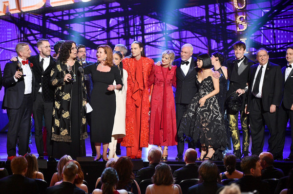 73rd Annual Tony Awards - Show [best musical,performance,event,entertainment,fashion,stage,public event,performing arts,fashion design,formal wear,music,crew,cast,award,new york city,radio city music hall,hadestown,tony awards,show]