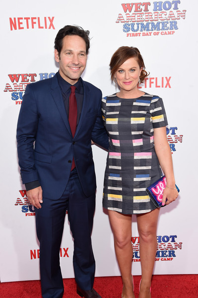Celebrities Attend the 'Wet Hot American Summer: First Day of Camp' Series Premiere [wet hot american summer: first day of camp,red carpet,carpet,premiere,event,suit,flooring,amy poehler,paul rudd,sva theater,new york city,series premiere]