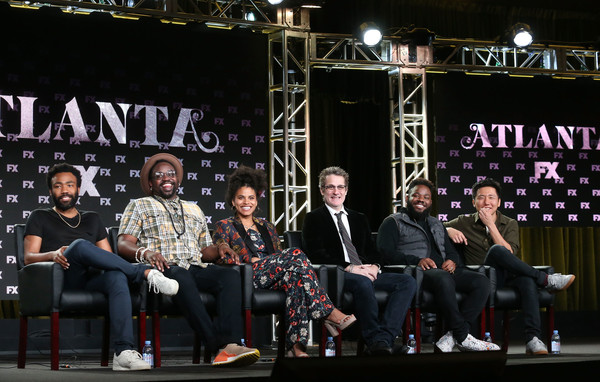 2018 Winter TCA Tour - Day 2 [stephen glover,paul simms,hiro murai,creator,music producer,writer,director,l-r,event,performance,music,stage,stage equipment,musician,winter tca,executive producer]