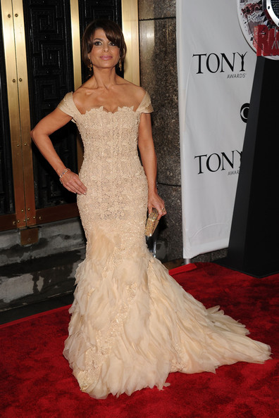 64th Annual Tony Awards - Arrivals [gown,dress,red carpet,carpet,clothing,fashion model,shoulder,flooring,haute couture,hairstyle,arrivals,paula abdul,tony awards,new york city,radio city music hall,64th annual tony awards]