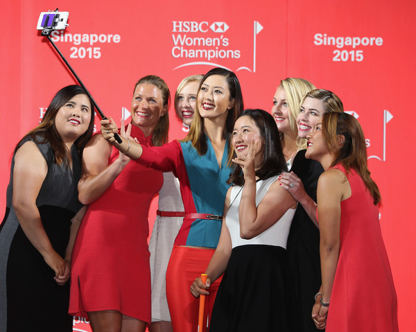 HSBC Women's Champions: Previews [hsbc womens champions - previews,event,red,premiere,fun,bachelorette party,formal wear,michelle wie,paula creamer,chella choi,lydia ko,suzann pettersen,selfie,c,singapore,launch event]