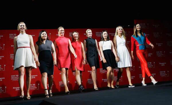 HSBC Women's Champions: Previews [hsbc womens champions - previews,red,performance,fashion,event,fashion design,competition,performing arts,team,stage,heater,jessica korda,chella choi,anna nordqvist,lydia ko,paula creamer,catwalk,inbee park,singapore,l-r]