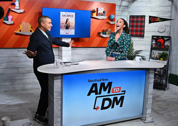 "Celebrities Visit BuzzFeed's ""AM To DM"" - December 17, 2019 [am to dm,advertising,event,table,stage equipment,celebrities,zach stafford,paula patton,coverage,new york city,buzzfeed]"