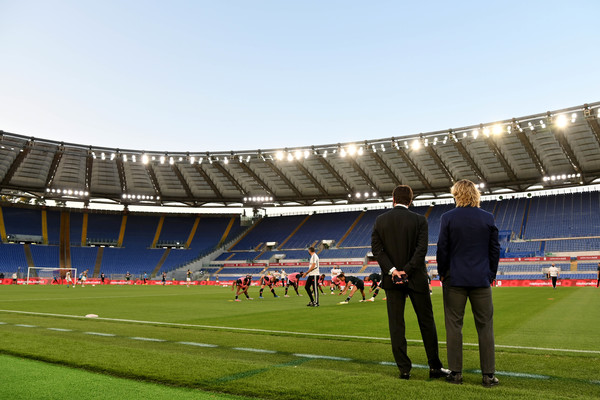 Juventus v SSC Napoli - Coppa Italia: Final [sport venue,stadium,soccer-specific stadium,arena,sports,team sport,player,atmosphere,ball game,team,final,s.s.c.,sport,italy,rome,juventus,ssc napoli,andrea agnelli president of juventus and pavel nedved vice-president of juventus looking at the warm up prior of the coppa italia final match between juventus and ssc napoli at olimpico stadium,team,coppa italia,juventus f.c.,s.s.c. napoli,2020 coppa italia final,2019\u201320 coppa italia,juventus f.c.\u2013s.s.c. napoli rivalry,sports team,team sport,coppa italia,gennaro gattuso]