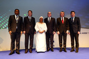(L-R) Daniel Ona Ondo, Primer Minister of Gabon, Alexander Zhukov, Deputy Prime Minister of Russia, Aminata Maiga Keita, First Lady of Mali, Prince Albert II of Monaco, Joel Bouzou, President & Founder of Peace & Sport and Lord Sebastian Coe, President of the IAAF pose for a photo during the Opening Ceremony of the Peace & Sport International Forum on November 25, 2015 in Monaco, Monaco.