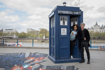 Pearl Mackie Peter Capaldi and New 'Doctor Who' Companion Pearl Mackie Pose in Costume With the Tardis and a Huge 3D Pavement Painting on London's Southbank