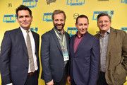 "(L-R) Director John Lee, producer Judd Apatow, actor Paul Reubens and chief content officer for Netflix Ted Sarandos attend the premiere of ""Pee-wee's Big Holiday"" during the 2016 SXSW Music, Film + Interactive Festival at Paramount Theatre on March 17, 2016 in Austin, Texas."