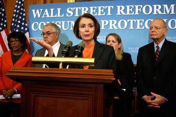 Paul Kanjorski Pelosi And House Democrats Hold News Conference On Financial Reform Act