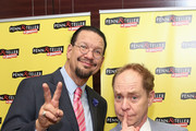 """Penn Jillette & Teller attend the """"Penn & Teller On Broadway"""" after party at Sardi's on July 12, 2015 in New York City."""