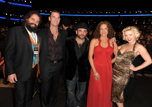 "(L-R) TV personalities Rupert Boneham, Benjamin ""Coach"" Wade, Russell Hantz, Jerri Manthey and Jessica Sugar Kiper pose in the audience during the People's Choice Awards 2010 held at Nokia Theatre L.A. Live on January 6, 2010 in Los Angeles, California."
