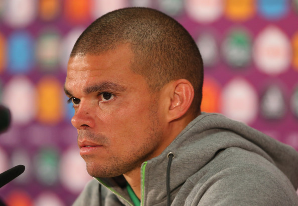 Pepe In this handout image provided by UEFA, Pepe of Portugal talks to the media during a press conference after the UEFA EURO 2012 Group B match against Denmark on June 13, 2012 in L'viv, Ukraine.