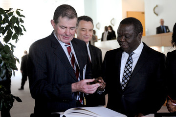 Peter Slipper Australia PM Gillard Meets With Zimbabwe PM Tsvangirai At Parliament House