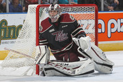 22 #35 of the Peterborough Petes covers the corner against the London Knights during an OHL game at Budweiser Gardens on October 7, 2016 in London, Ontario, Canada.