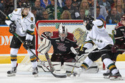 Alex Formenton #80 of the London Knights tips a shot past Scott Smith #35 of the Peterborough Petes during an OHL game at Budweiser Gardens on October 7, 2016 in London, Ontario, Canada. The Knights defeated the Petes 6-3.
