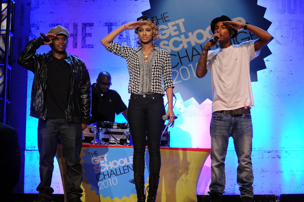 "Pharrell Williams STV personality Sway Calloway, singer Keri Hilson and recording artist Pharrell Williams speak onstage at ""The Get Schooled National Challenge & Tour"" at Martin Luther King High School on September 24, 2010 in New York City."