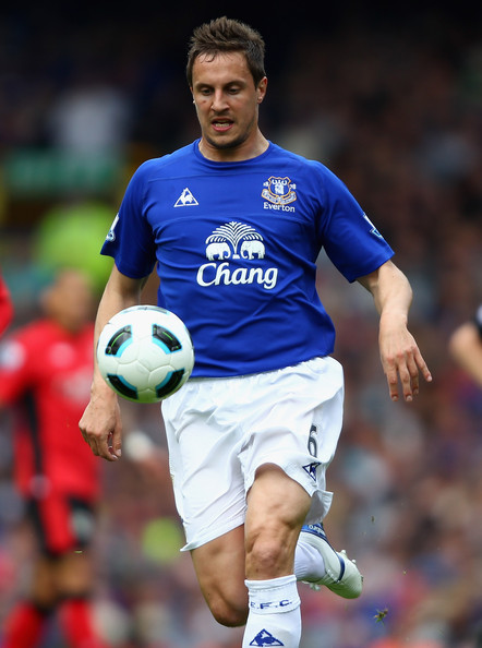 Phil Jagielka Phil Jagielka of Everton in action during the Barclays Premier League match between Everton and Blackburn Rovers at  Goodison Park on April 16, 2011 in Liverpool, England.