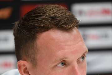 Phil Jones England Training Session and Press Conference