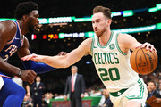 Gordon Hayward #20 of the Boston Celtics dribbles the ball during a game against the Philadelphia 76ers at TD Garden on October 16, 2018 in Boston, Massachusetts. NOTE TO USER: User expressly acknowledges and agrees that, by downloading and or using this photograph, User is consenting to the terms and conditions of the Getty Images License Agreement.