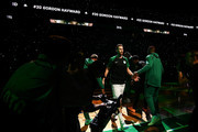 Gordon Hayward #20 of the Boston Celtics enters the court before a game against the Philadelphia 76ers at TD Garden on October 16, 2018 in Boston, Massachusetts. NOTE TO USER: User expressly acknowledges and agrees that, by downloading and or using this photograph, User is consenting to the terms and conditions of the Getty Images License Agreement.