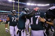 Carson Wentz #11 of the Philadelphia Eagles celebrates with Alshon Jeffery #17  after Jeffery scored a touchdown against the New York Giants during the third quarter at MetLife Stadium on October 11, 2018 in East Rutherford, New Jersey.