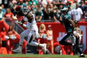 DeSean Jackson #11 of the Tampa Bay Buccaneers catches a touchdown pass during a game against the Philadelphia Eagles at Raymond James Stadium on September 16, 2018 in Tampa, Florida.