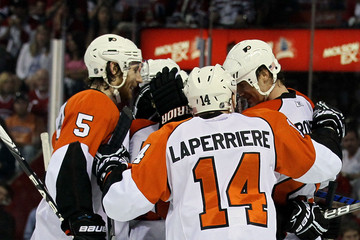 Ian Laperriere Braydon Coburn Philadelphia Flyers v Montreal Canadiens - Game Four