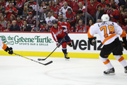 Alex Ovechkin #8 of the Washington Capitals looks to pass in front of Pierre-Edouard Bellemare #78 of the Philadelphia Flyers in the third period of Game Five of the Eastern Conference Quarterfinals during the 2016 NHL Stanley Cup Playoffs at Verizon Center on April 22, 2016 in Washington, DC.