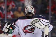 Goalie Sergei Bobrovsky #72 of the Columbus Blue Jackets spits water against the Washington Capitals during the second period at Capital One Arena on February 9, 2018 in Washington, DC.