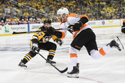 Claude Giroux #28 of the Philadelphia Flyers attempts a shot during the third period in Game One of the Eastern Conference First Round during the 2018 NHL Stanley Cup Playoffs against the Pittsburgh Penguins at PPG PAINTS Arena on April 11, 2018 in Pittsburgh, Pennsylvania.