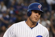 Anthony Rizzo #44 of the Chicago Cubs runs the bases after hitting a home run against the Philadelphia Phillies during the second inning on June 6, 2018 at Wrigley Field in Chicago, Illinois.