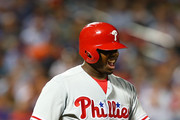 Ryan Howard #6 of the Philadelphia Phillies reacts after getting hit by a pitch in the sixth inning at Citi Field on September 22, 2016 in the Flushing neighborhood of the Queens borough of New York City.