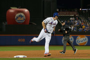 Jay Bruce #19 of the New York Mets runs the bases after his second inning home run against the Philadelphia Phillies at Citi Field on September 7, 2018 in the Flushing neighborhood of the Queens borough of New York City.