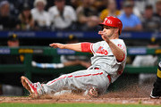 Daniel Nava #25 of the Philadelphia Phillies scores during the sixth inning against Pittsburgh Pirates at PNC Park on May 19, 2017 in Pittsburgh, Pennsylvania.