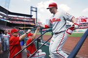 Daniel Nava #25 of the Philadelphia Phillies celebrates after a solo home run in the seventh inning of a game against the St. Louis Cardinals at Busch Stadium on June 11, 2017 in St. Louis, Missouri. The Cardinals defeated the Phillies 6-5.