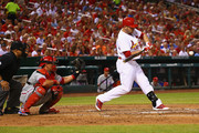 Matt Holliday #7 of the St. Louis Cardinals hits an RBI single against the Philadelphia Phillies in the third inning at Busch Stadium on June 20, 2014 in St. Louis, Missouri.